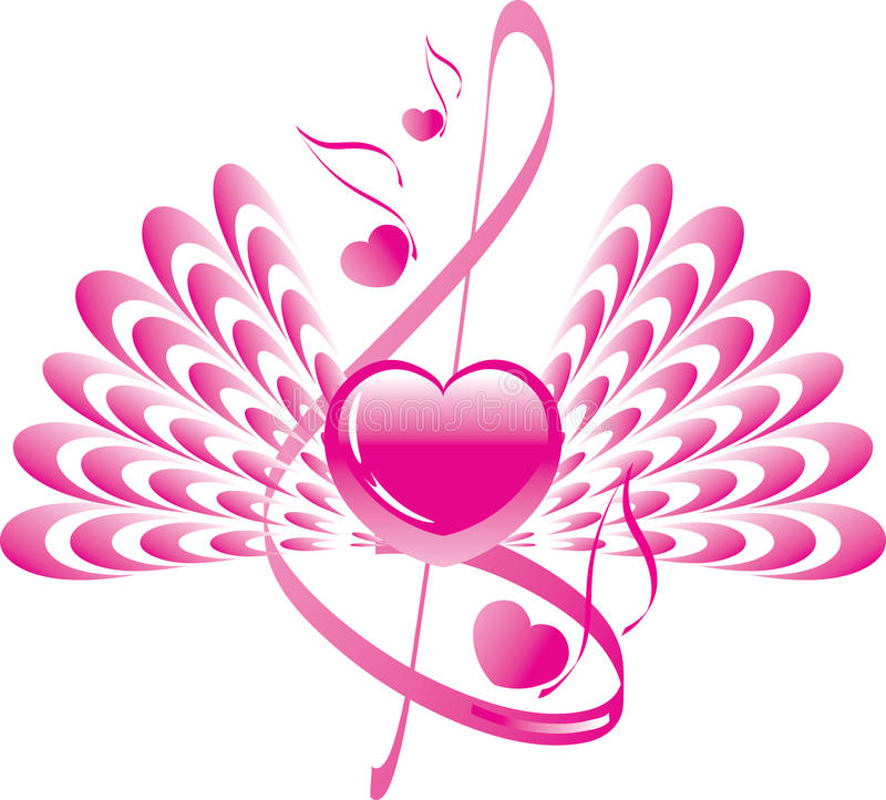 Heart with wings and note with treble clef royalty free illustration