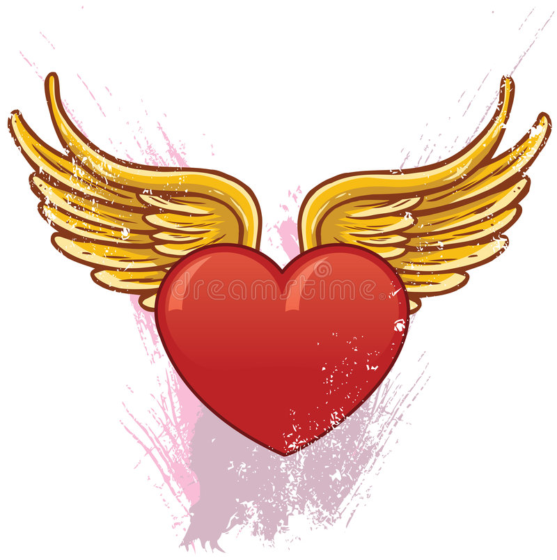 Heart with wings vector illustration royalty free stock photo