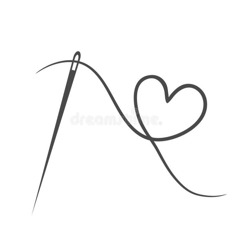 Free Heart With A Needle Thread Icon For Design On White. Vector Illustration Stock Photos - 185753553