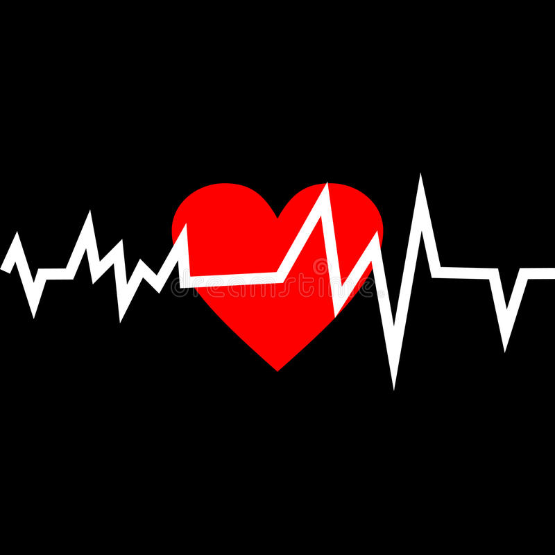 Free Heart With Life Line In Minimalistic Style. Royalty Free Stock Photos - 43958168