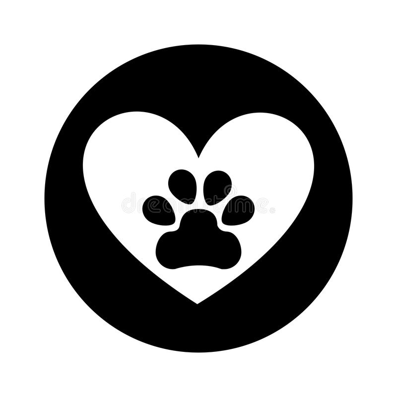 Free Heart With Paw Footprint Isolated Icon Royalty Free Stock Photography - 88719517