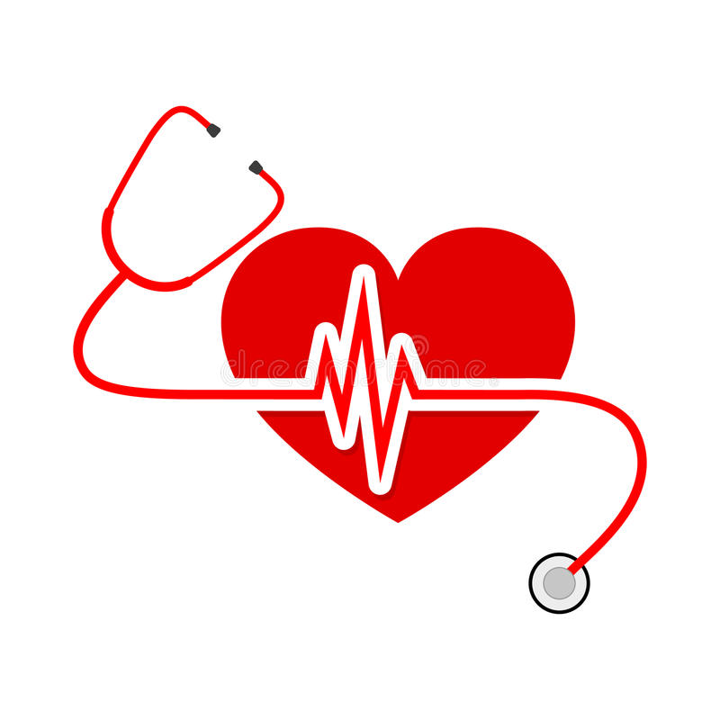 Free Heart With Stethoscope And Heartbeat Sign. Vector Illustration Royalty Free Stock Photos - 87817648