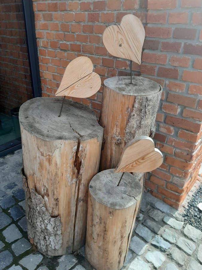 Heart wood carving art stock photos