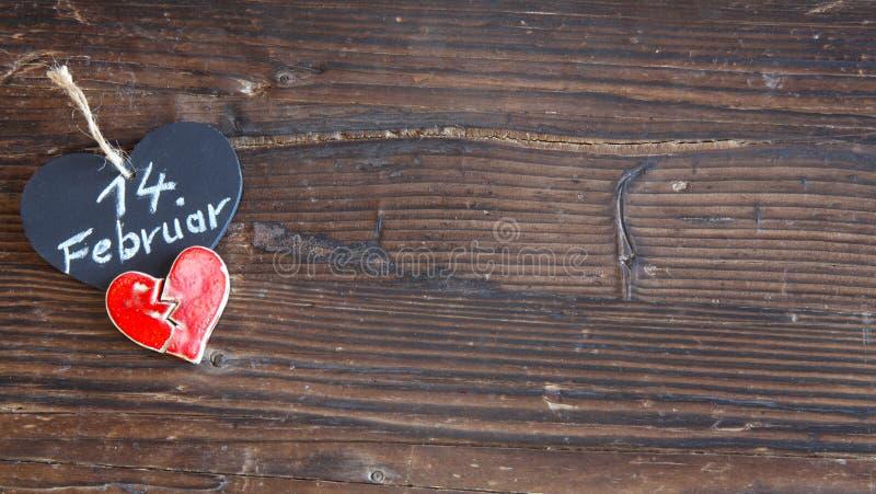 Heart on wood. Valentine day stock photos
