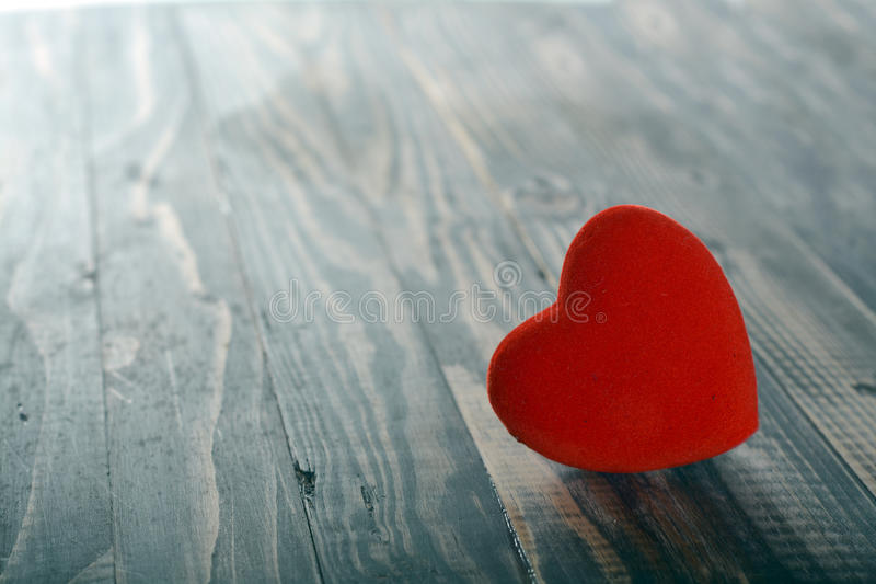 Heart on wood, Valentine day love stock image