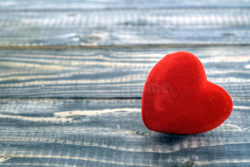 Heart on wood, Valentine day love stock photo