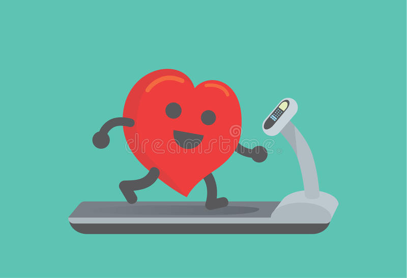 Heart workout with running on treadmill. This illustration about running make healthy heart vector illustration