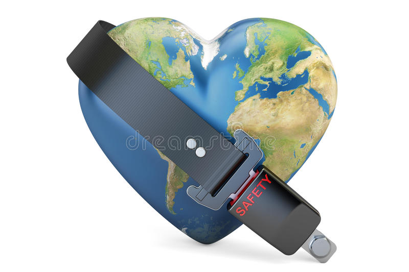 Heart world globe with safety belt, safety and secure concept. 3 vector illustration