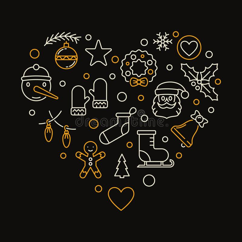 Heart of Xmas outline icons. Vector Christmas illustration stock illustration