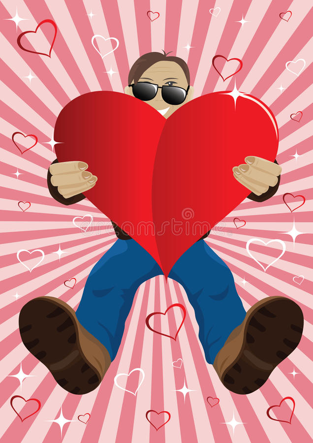Heart for you. Man giver heart on a colorful background stock illustration