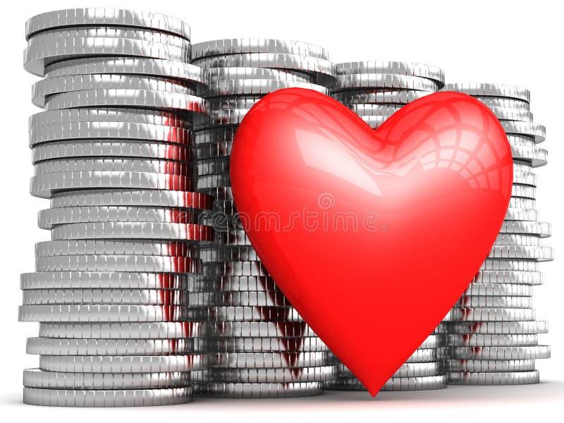 Heart on your money treasure royalty free illustration