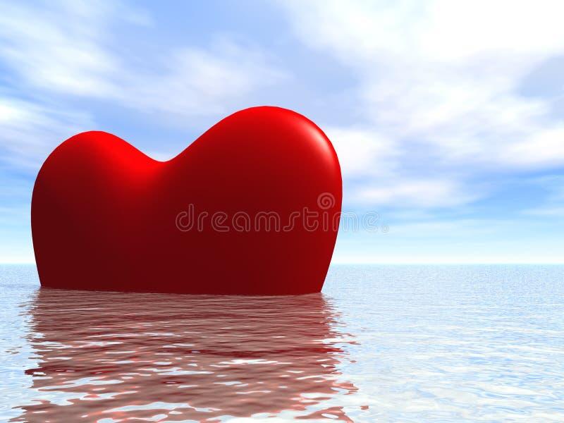 Heart3D dans l'océan illustration de vecteur