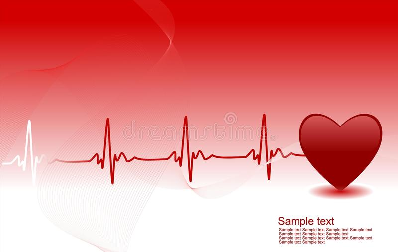 Heartbeat. Medical background with space for your text - heart and heartbeat symbol royalty free illustration