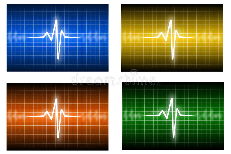 Heartbeat. Illustration of heartbeat track in different colors royalty free illustration