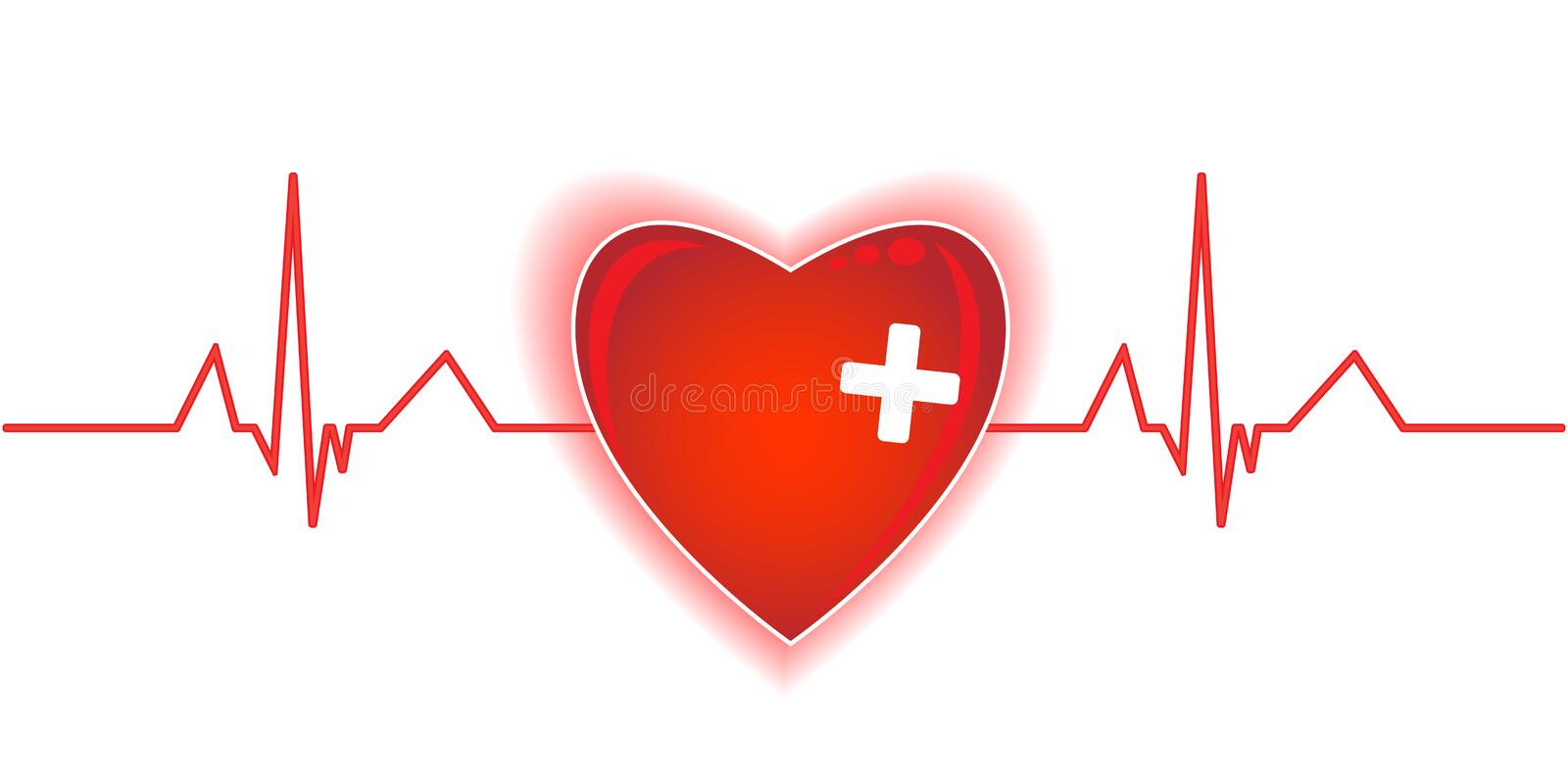 Heartbeat. Red heart on the white background royalty free illustration