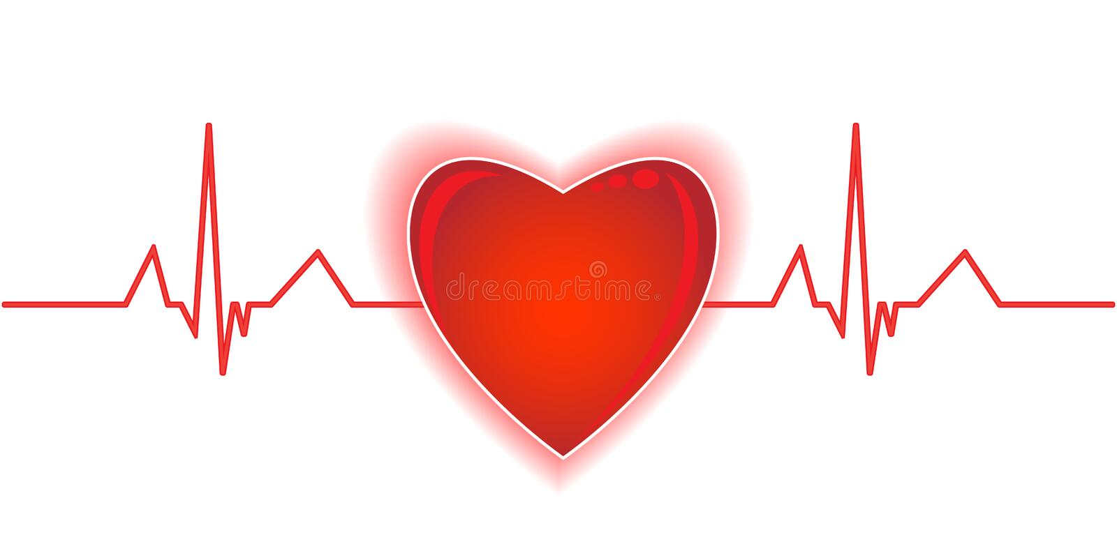 Heartbeat. Heart on the white background royalty free illustration
