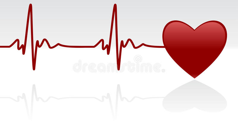 Heartbeat. Editable vector background - heart and heartbeat symbol on reflective surface royalty free illustration