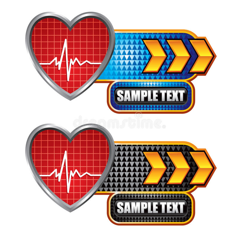 Heartbeat on blue and black arrow banners royalty free illustration