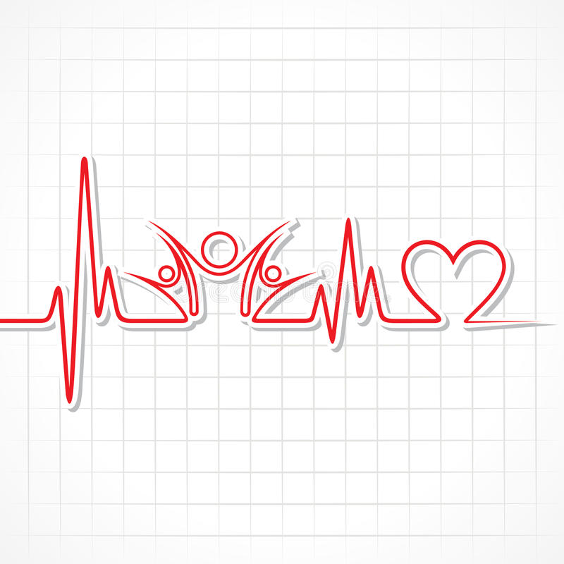 Heartbeat with a clock symbol in lineHeartbeat with a unity symbol in line. Heartbeat with a unity symbol in line stock vector royalty free illustration