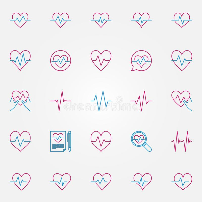 Heartbeat colorful outline icons. Vector cardiac cycle sings. Heartbeat colorful outline icons set. Vector cardiac cycle or pulse creative symbols or logo royalty free illustration