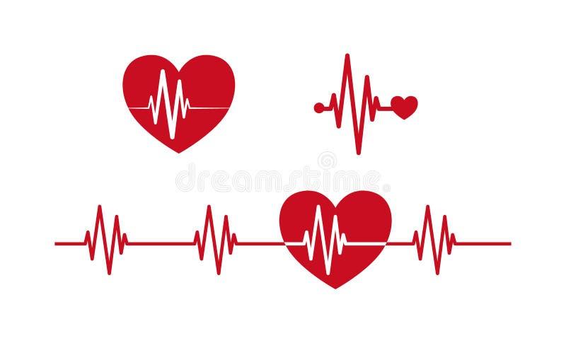 Heartbeat concept icons. Cardiogram ecg line vector illustration
