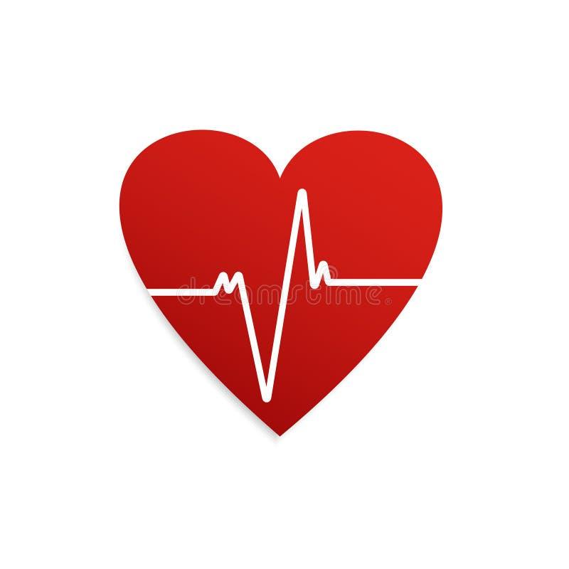 heartbeat ?cone da forma do cora??o Cardiograma do coração Ilustra??o do vetor ilustração royalty free