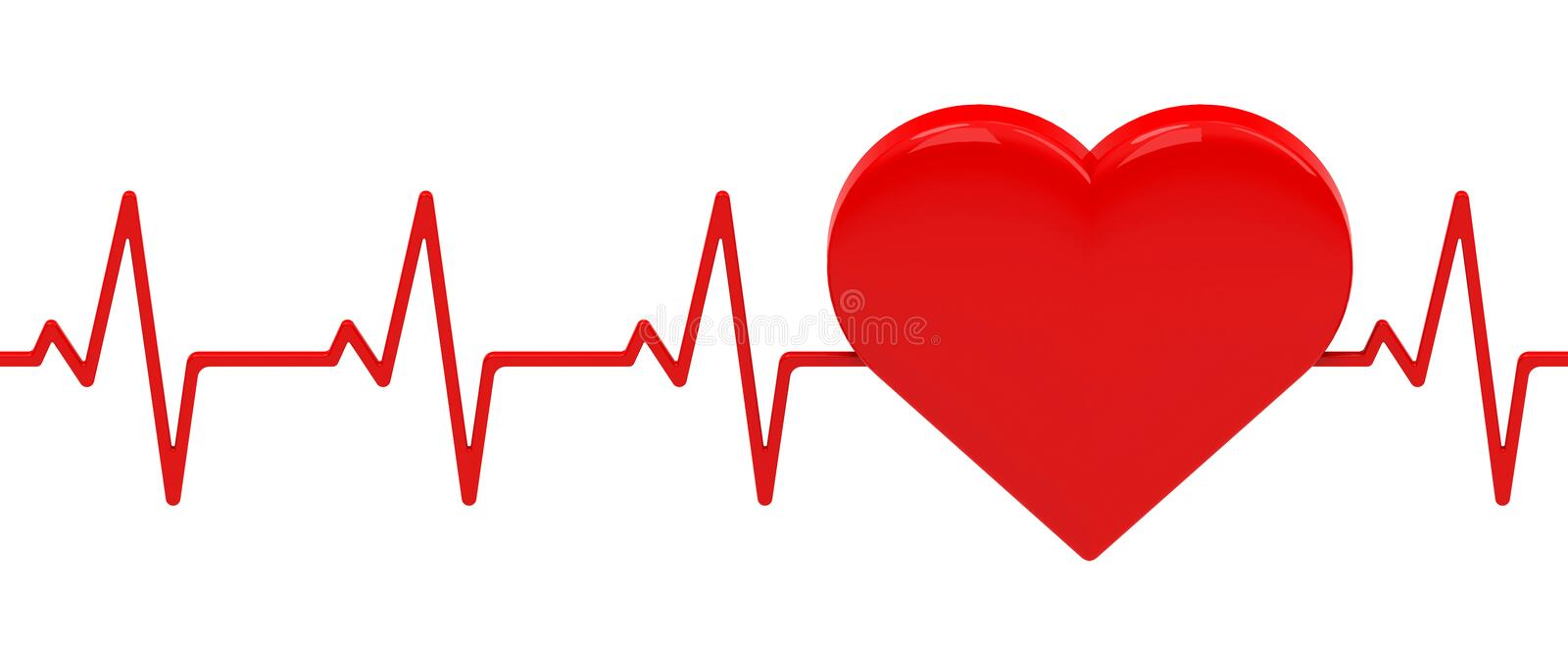 The heartbeat. 3d generated picture of a red heart with heartbeat royalty free illustration