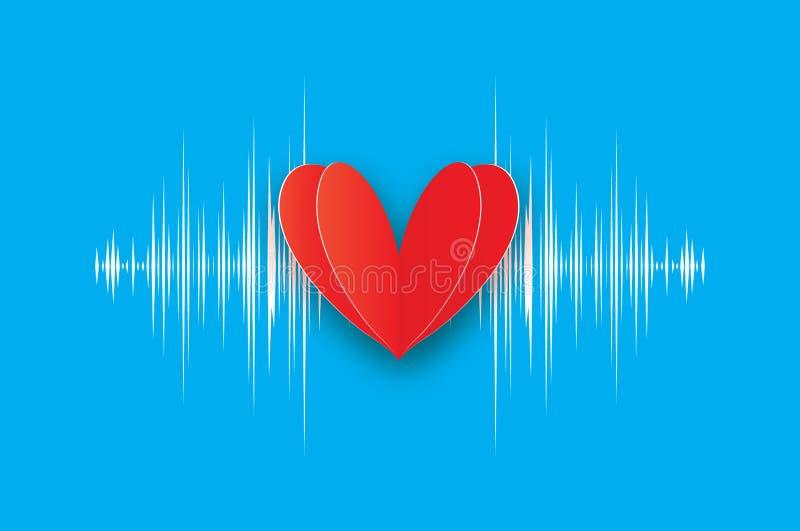 heartbeat Dia feliz do `s do Valentim Coração vermelho no estilo do corte do papel ilustração do vetor