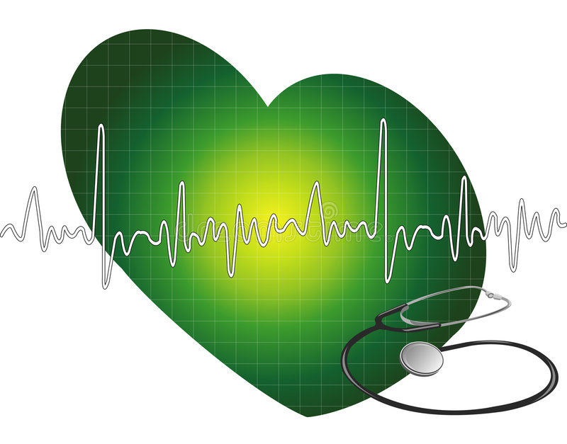Heartbeat - ecg. Heartbeat graph with heart background with stethoscope stock illustration