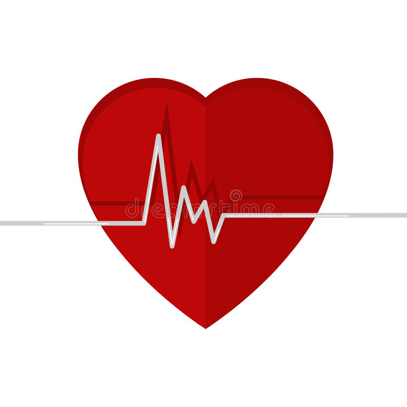 Heartbeat. Echocardiography. Cardiac exam. Form of heart and heartbeat. Isolated on a white background vector illustration
