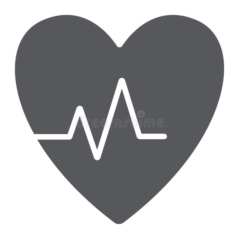 Heartbeat glyph icon, cardiogram and heart, pulse sign, vector graphics, a solid pattern on a white background. Heartbeat glyph icon, cardiogram and heart stock illustration