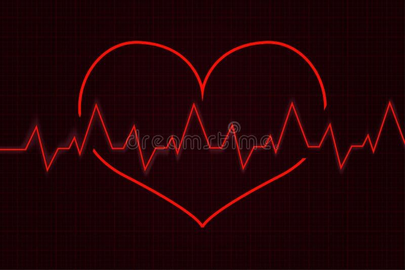 heartbeat Gráfico do cardiograma com coração vermelho ilustração stock