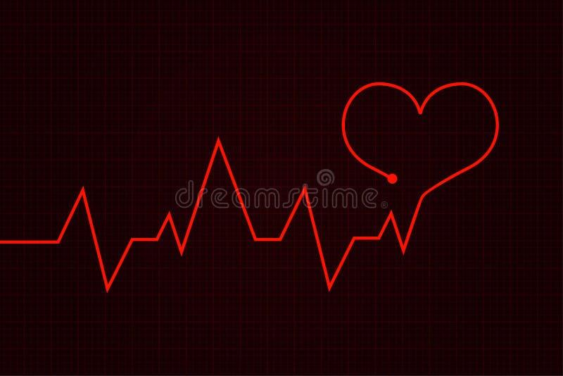 heartbeat Gráfico do cardiograma com coração vermelho ilustração royalty free