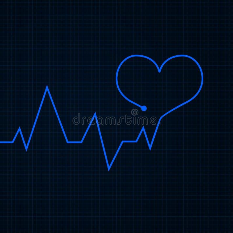 heartbeat Gráfico do cardiograma Linha azul na forma do coração ilustração do vetor