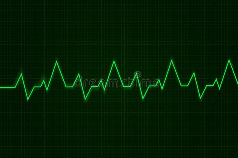heartbeat Gráfico do cardiograma Linha verde na exposição ilustração stock