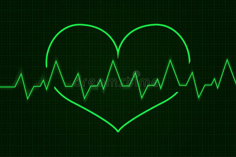 heartbeat Gráfico do cardiograma Linha verde na forma do coração ilustração do vetor