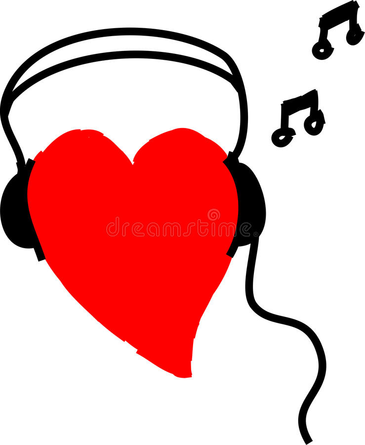 Heartbeat. Hand drawn red heart with headphones on listening to music. For music, entertainment and health concepts royalty free illustration
