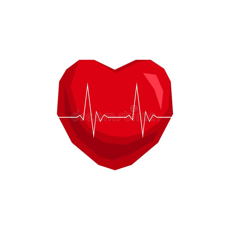Heartbeat / heart beat pulse 3d vector icon. For medical apps and websites stock illustration