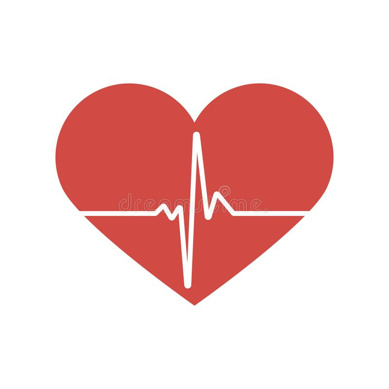 Heartbeat / heart beat pulse flat vector icon for medical apps and websites vector illustration