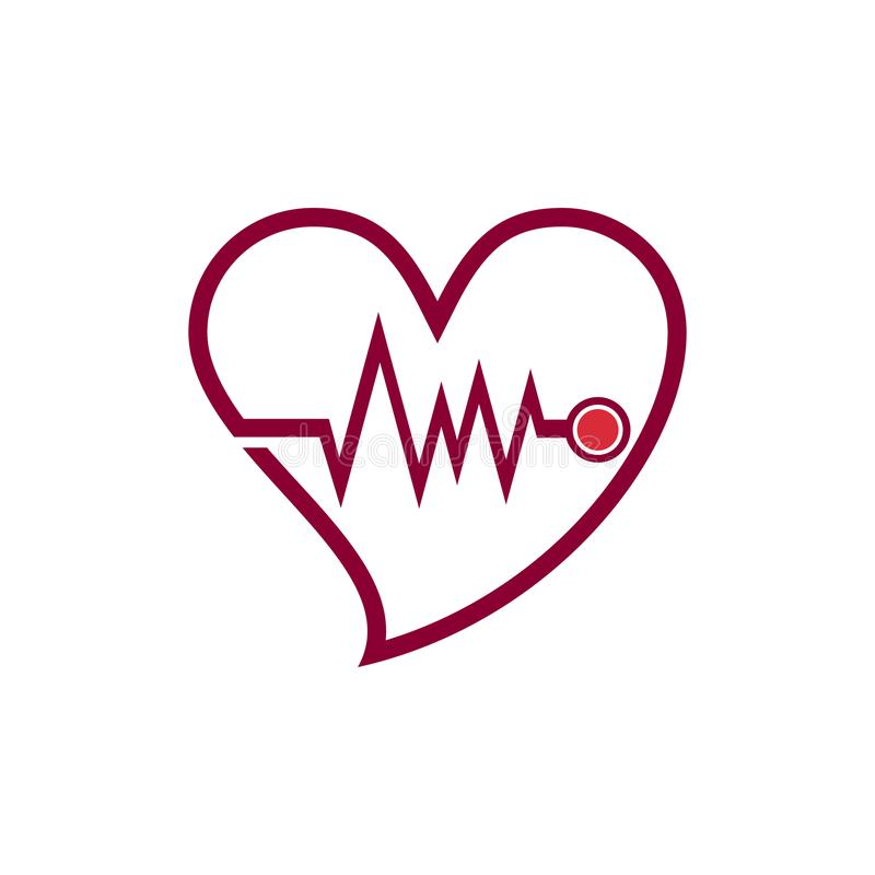 Heartbeat Heart Cardiac Doctor Love Care Line Logo Icon.  royalty free illustration