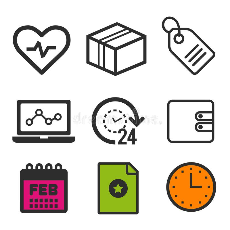 Heartbeat icon. Laptop statistics symbol. 24 hour open icon. Shopping label sign. Clock and Calendar icons. Eps10 Vector. royalty free illustration