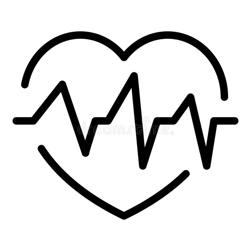 Heartbeat icon, outline style. Heartbeat icon. Outline heartbeat vector icon for web design isolated on white background stock illustration