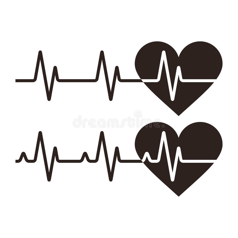 Heartbeat icons. Electrocardiogram, ecg or ekg isolated on white background royalty free illustration
