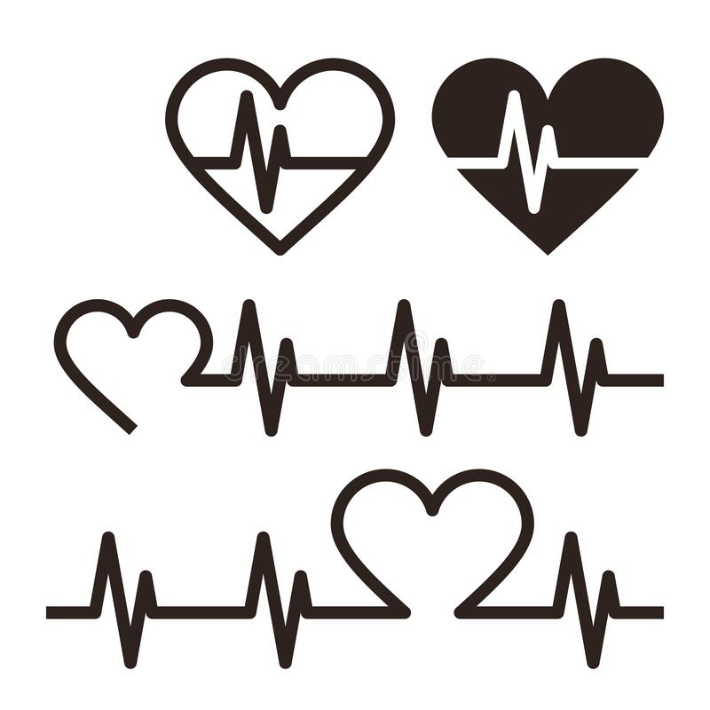 Heartbeat icons, Electrocardiogram royalty free illustration