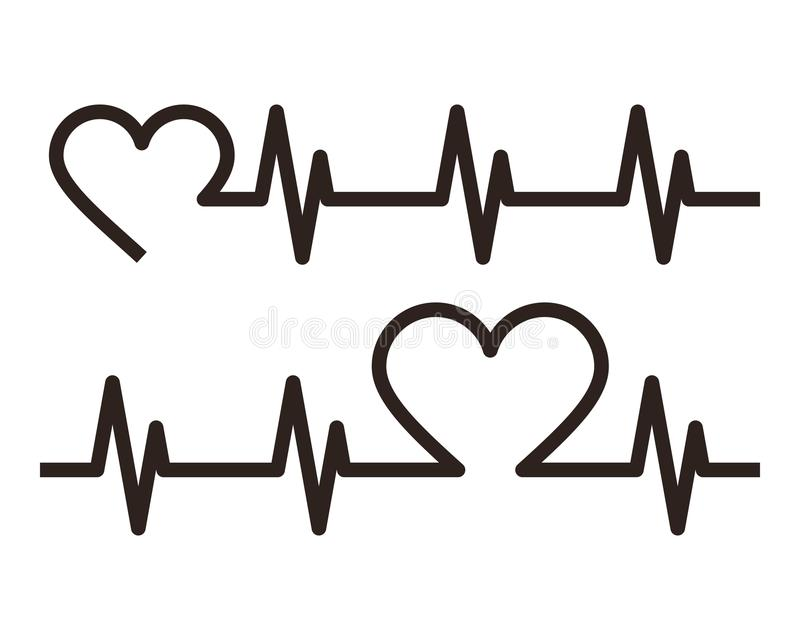 Heartbeat icons. Electrocardiogram vector illustration