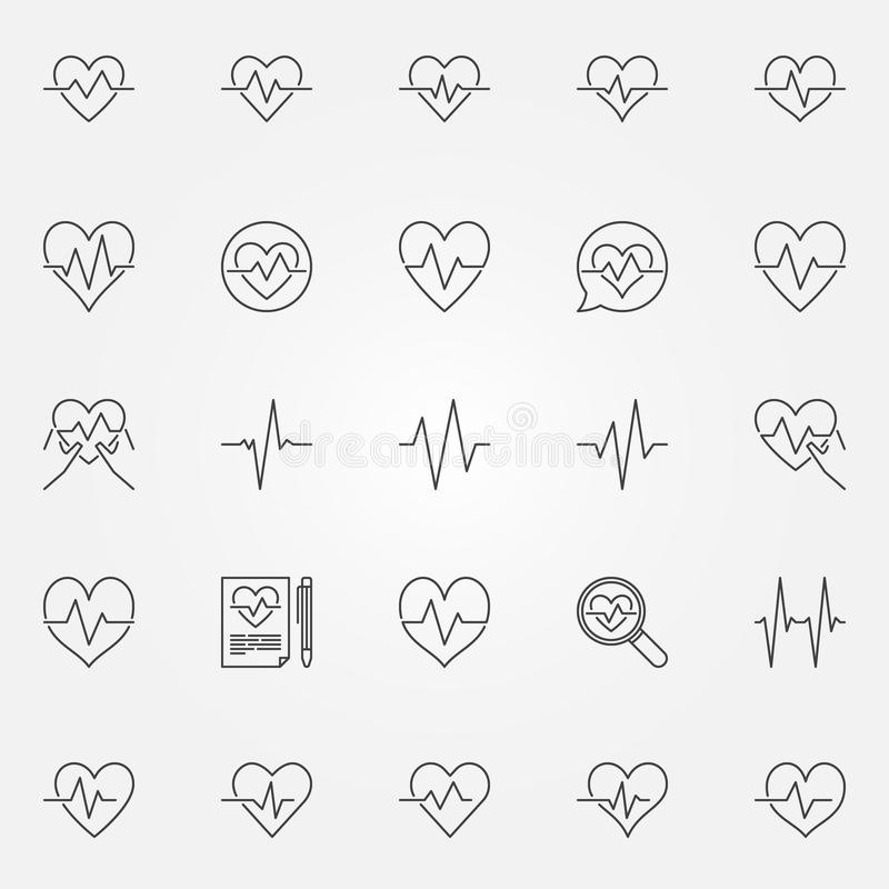 Heartbeat icons set - vector cardiac cycle line signs royalty free illustration