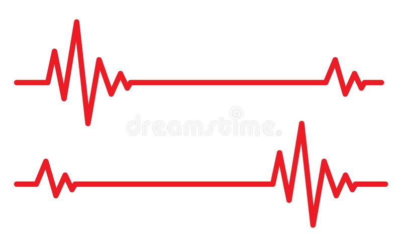 Heartbeat icos. Vector illustration. Red heartbeat icons in flat design. Vector illustration. Sign of the electrocardiogram isolated stock illustration