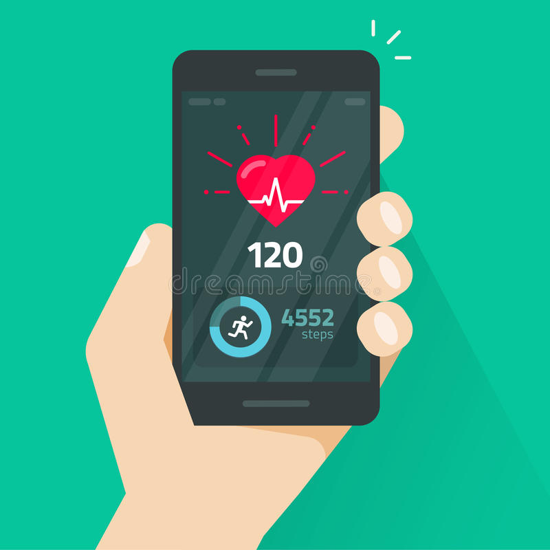 Heartbeat indicator on mobile phone screen, pulse meter with heart beat and running activity information, fitness health royalty free illustration