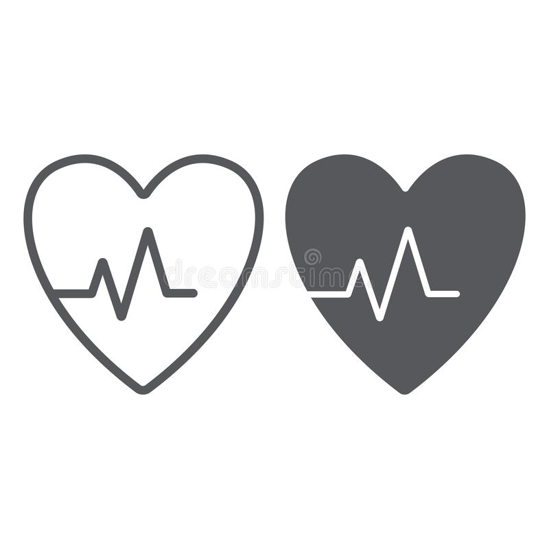 Heartbeat line and glyph icon, cardiogram and heart, pulse sign, vector graphics, a linear pattern on a white background. Eps 10 royalty free illustration