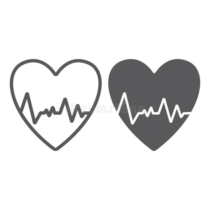 Heartbeat line and glyph icon, ecg and cardiology, heart cardiogram sign, vector graphics, a linear pattern on a white. Background, eps 10 vector illustration